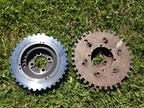 Mitsubishi 4G63 custom crank trigger before (right) and after (left)